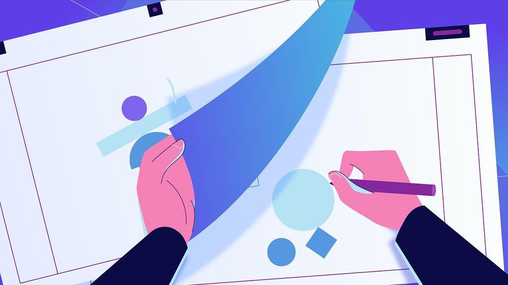 gambar kartun tangan menggambar di kertas