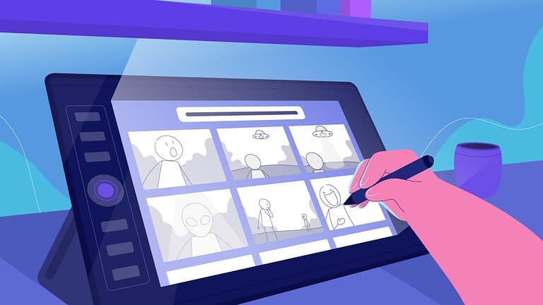 tangan menggambar animasi di tablet