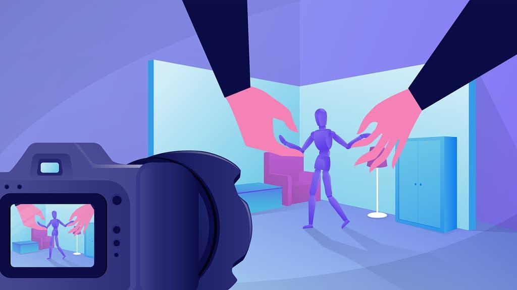 gambar animasi tangan dengan background ungu