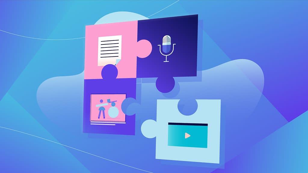 ilustrasi kertas dan mikrofon dengan latar warna biru