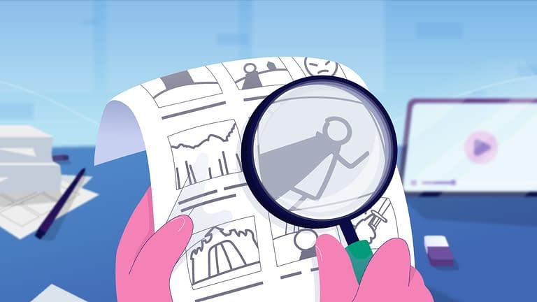 animasi kaca pembesar untuk melihat storyboard